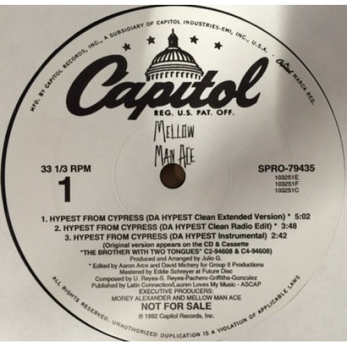 "Mellow Man Ace - Hypest From Cypress , 12"", 33 ⅓ RPM, Promo"