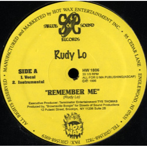 "Rudy Lo - Remember Me / Mad Love, 12"", 33 ⅓ RPM"
