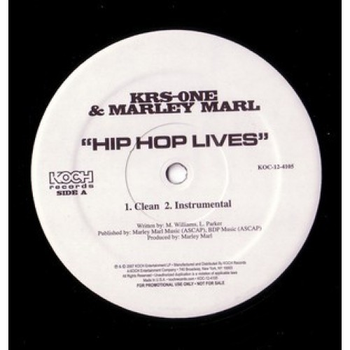 "KRS-One & Marley Marl - Hip Hop Lives, 12"", 33 ⅓ RPM, Promo"