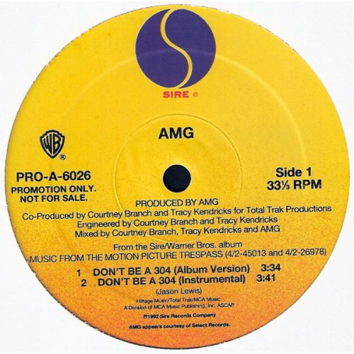 "AMG / Lord Finesse - Don't Be A 304 / You Know What I'm About, 12"", Promo"