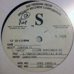 "Gang Starr - DWYCK, 12"", Test Pressing"