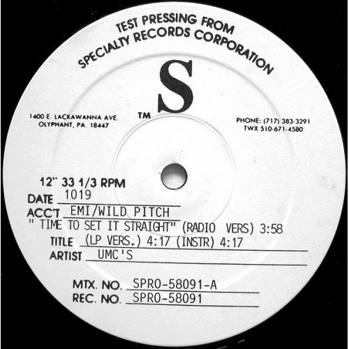 "UMC's - Time To Set It Straight / Ill Demonic Clique, 12"", Test Pressing"