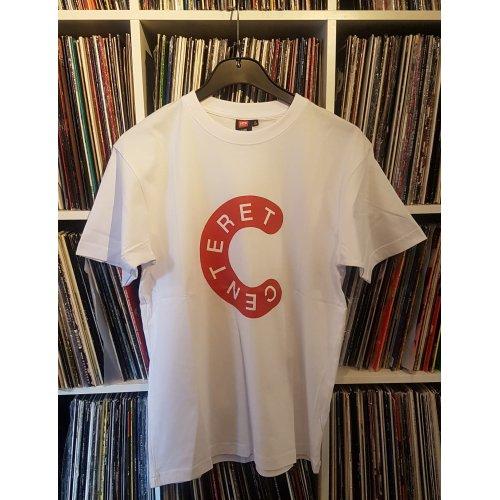 Centeret T-Shirt (Hvid med rød tryk)