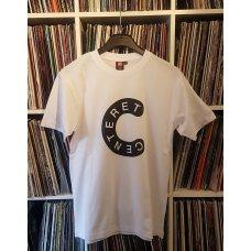 Centeret T-Shirt (Hvid med sort tryk)