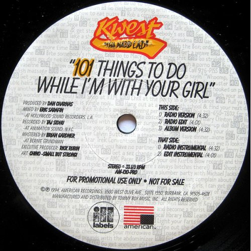 "Kwest Tha Madd Lad - 101 Things To Do While I'm With Your Girl, 12"", Promo"
