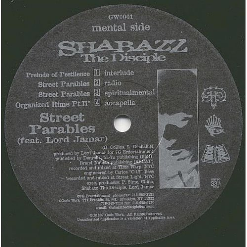 Shabazz The Disciple - Street Parables / Organized Rime (Pt. II), 12""