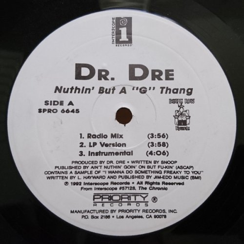"""Dr. Dre - Nuthin' But A 'G' Thang, 12"""", Reissue"""