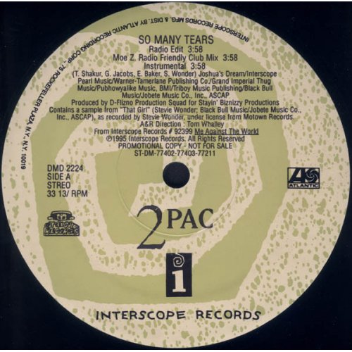 "2Pac - So Many Tears, 12"", Promo"