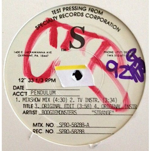 "Boogiemonsters - Strange, 12"", Test Pressing"