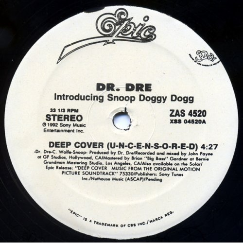 """Dr. Dre Introducing Snoop Doggy Dogg - Deep Cover, 12"""", Reissue"""