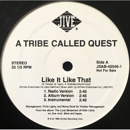 """A Tribe Called Quest - Like It Like That, 12"""", Promo"""