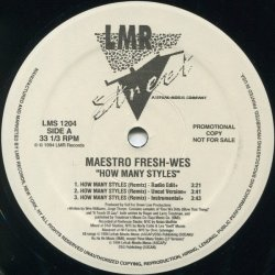 "Maestro Fresh-Wes - How Many Styles, 12"", Promo"