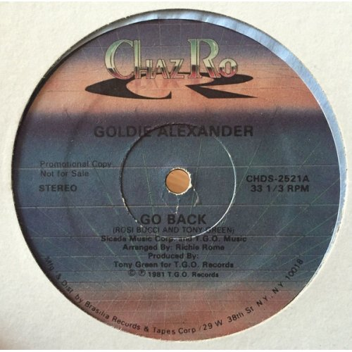 """Goldie Alexander - Go Back / Show You My Love, 12"""", Promo"""