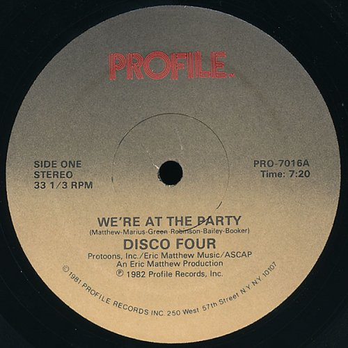 """Disco Four - We're At The Party, 12"""""""