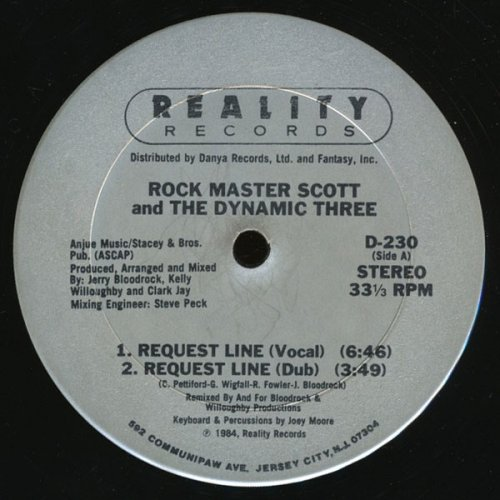 """Rock Master Scott And The Dynamic Three - Request Line / The Roof Is On Fire, 12"""""""