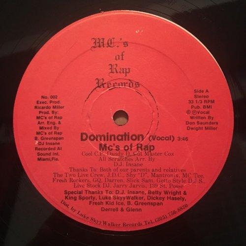 "MC's Of Rap - Domination, 12"""