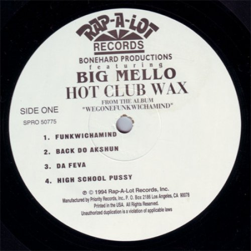 """Bonehard Productions Featuring Big Mello - Hot Club Wax, 12"""", Sampler"""