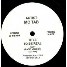 "MC Tab - To Be Real / Come On And Groove Me, 12"", Promo"