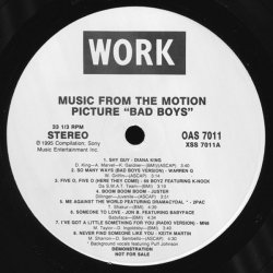 """Various - Music From The Motion Picture """"Bad Boys"""", LP, Promo"""
