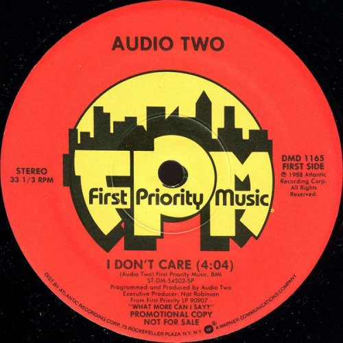 "Audio Two - I Don't Care, 12"", Promo"