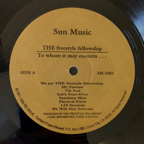 The Freestyle Fellowship - To Whom It May Concern..., LP, Repress