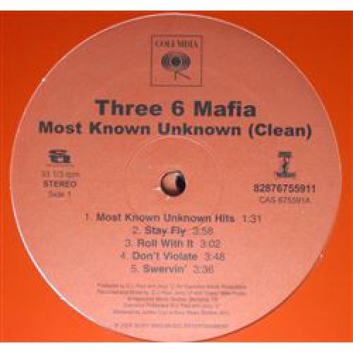 Three 6 Mafia - Most Known Unknown (Clean), 2xLP, Promo