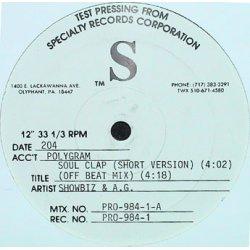 """Showbiz & A.G. - Soul Clap / Party Groove, 12"""", Test Pressing, Promo"""