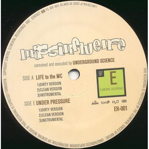 """Mass Influence - Life To The MC / Under Pressure, 12"""""""