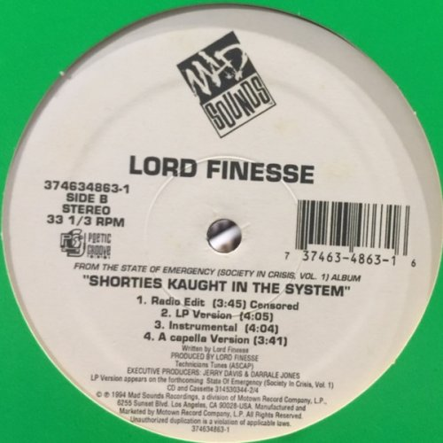 """Lord Finesse - Shorties Kaught In The System, 12"""", Promo"""