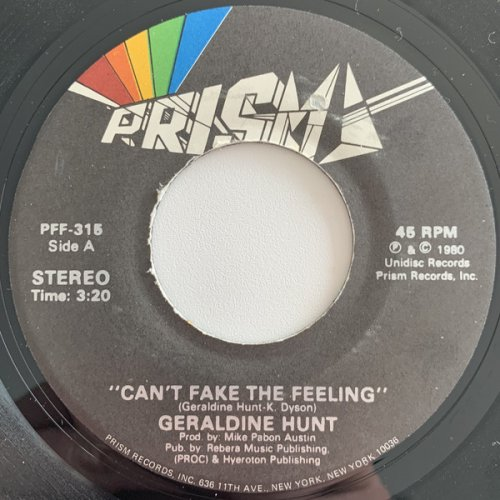 "Geraldine Hunt - Can't Fake The Feeling, 7"""